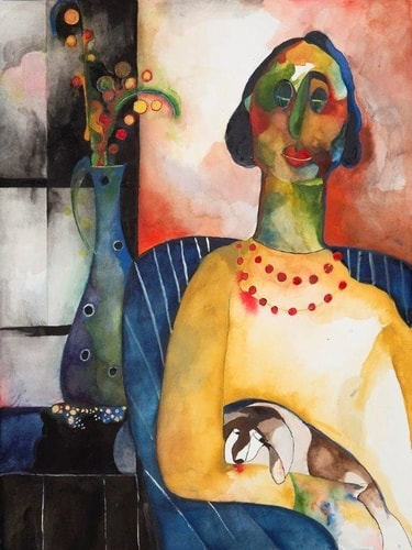 Woman With Dog by Judy Nemer Sklar